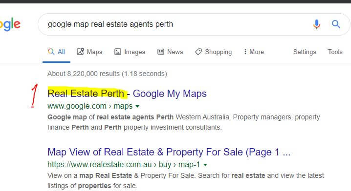 Real estate agents Perth on Google maps.